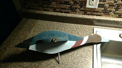Vintage Wooden Duck Goose Wind Weather Vane Part Panted Needs Repair