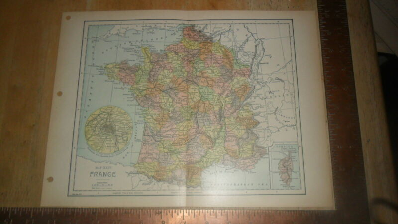 FISK ENG.  MAP - ORIGINAL Ca 1900 - FRANCE