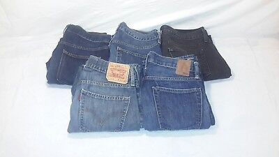 LOT of 5 Mens Slim Straight Denim Blue Jeans Levis 514 GAP Old Navy Size 30 x 30