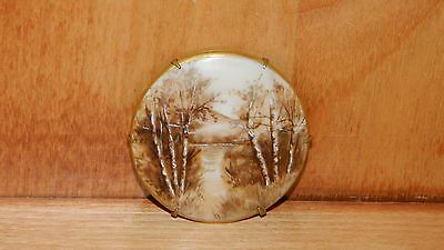 Vintage PORCELAIN Hand Painted PIN BROOCH Birch Tree Lake Scene COPPER? BRASS?