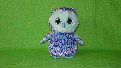 Ty Oscar Plush Beanie Boos 10  Blue Purple Owl Sparkly Feet  Beak   Eyes