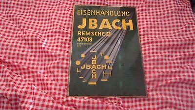 antik Firmen Werbeschild Imoglas 48,5 x 34 cm Eisenhandlung JBACH Remscheid