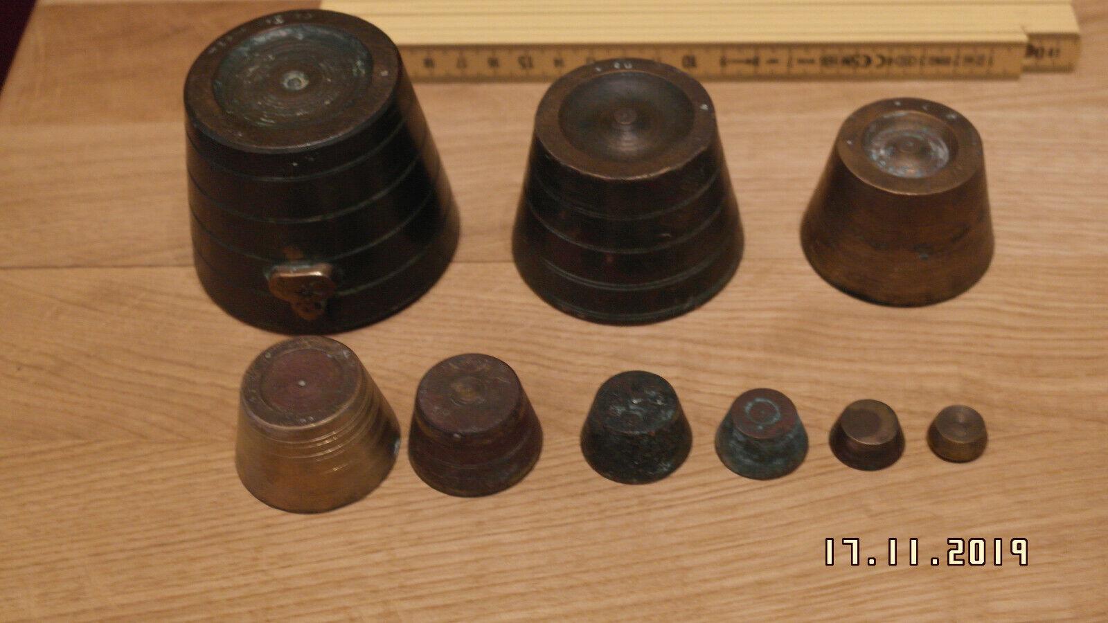 Antikes Bechergewicht Topfgewicht Messing mit Punzen Apotheken Gewicht