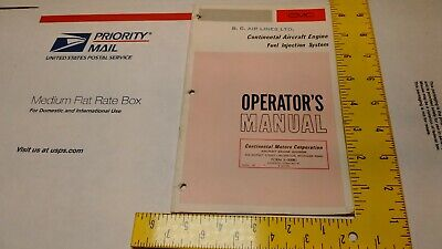 Teledyne CONTINENTAL  Aircraft Engine FUEL INJECTION SYSTEM  OPERATOR MANUAL