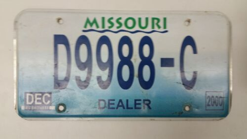 2000 MISSOURI Dealer License Plate D9988-C