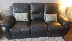 Faux leather black couch set (love seat and recliner)