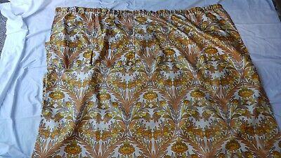 "Vintage - 70s Floral Orange & Brown Curtain - 87"" Drop - Bedroom, Lounge, Door"