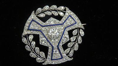 BOUCHERON~PARIS~ART DECO~PLATINUM+DIAMONDS+BLUE ENAMEL~BROOCH/PINI~4.00 CARATS
