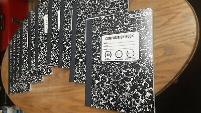 Note Book (Lot of 10) Composition Note Books, 80 Sheet, Useful Inside, Black Marble