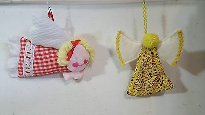 LOT OF 2 HANDMADE HANDSEWN ANGELS CHRISTMAS HANUKKAH HOLIDAY SEASONAL ORNAMENTS - Hanukkah Ornaments