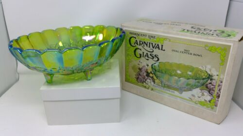 Indiana Glass Carnival Iridescent Lime Oval Center Bowl W/Box