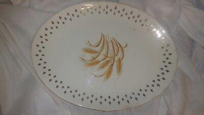 "Fleur de lis PLATTER Golden Wheat HOMER LAUGHLIN *Vintage USA Gold 12""Oval*Rare"