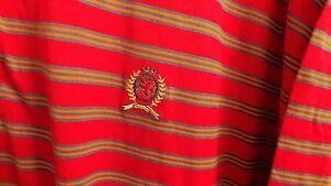 New Vintage Tommy Hilfiger Red Striped Lion Crest Logo Polo Shirt Mens XL