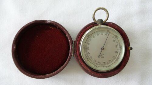 Antique Lufft German Pocket Barometer with Leather Case