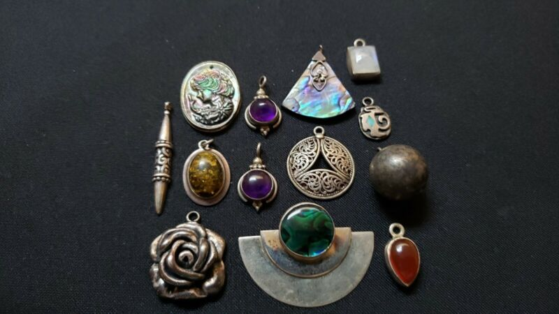 Lot of vintage modern sterling silver pendants charms gemstones