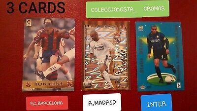 RONALDO LOTE 3 CARDS DIFERENTES MUNDICROMO BARCELONA MADRID INTER PERFECT CORNER