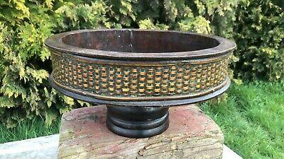 Beautiful Vintage Large Wooden Bowl On Pedestal *