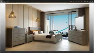 Queen 4pcs Suite- Hardwood Sand Colour