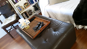 Chocolate Coloured Leather Ottoman Nerang Gold Coast West Preview