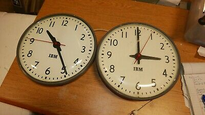 2 Vintage IBM 95925 Slave School Clocks