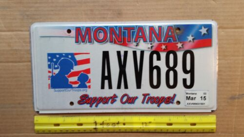 License Plate, Montana, Support Our Troops, American Flag, AXV 689