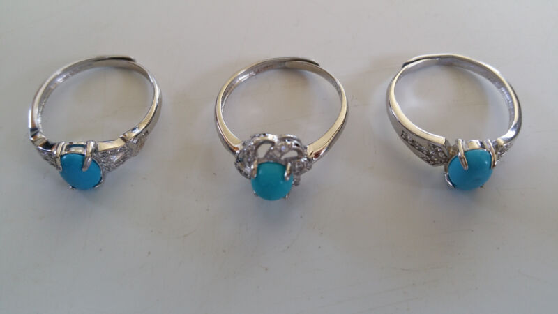 Set of 3 samples of Sterling silver rings with turquoise and CZ