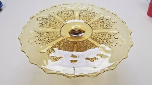 """Vintage LG Wright Amber Daisy and Button Cake Stand, 13"""",  FREE SHIP LOWER 48"""