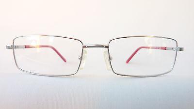 Metallgestell silber Brille Fassung eckig Rahmen Bügel blau rot glasses Grösse M