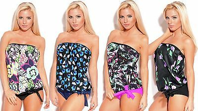 - 2 Piece Women's Floral Strapless Bandeau Blouson Tankini Swimsuit Made in U.S.A.