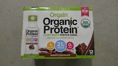 (12) Count Case Orgain Organic Plant Based Protein Shake 14 Oz Each Chocolate #7 7 Oz Shaker