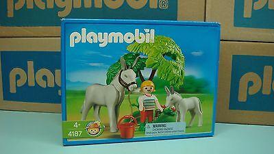 Playmobil 4187 Donkey with foal very original rare MIBNO New geobra farm Toy