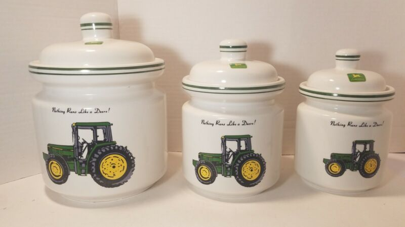 John Deere Gibson Everyday 3 Piece Canister Set Jars w Lids Tractor ***Damage **