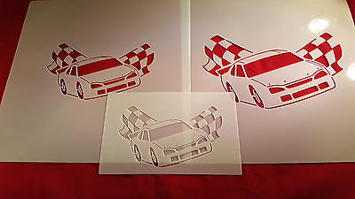 YOUTH ADULT T SHIRT HAT AIRBRUSH STENCILS RACE CAR SET OF 3 FAST FREE SHIP!