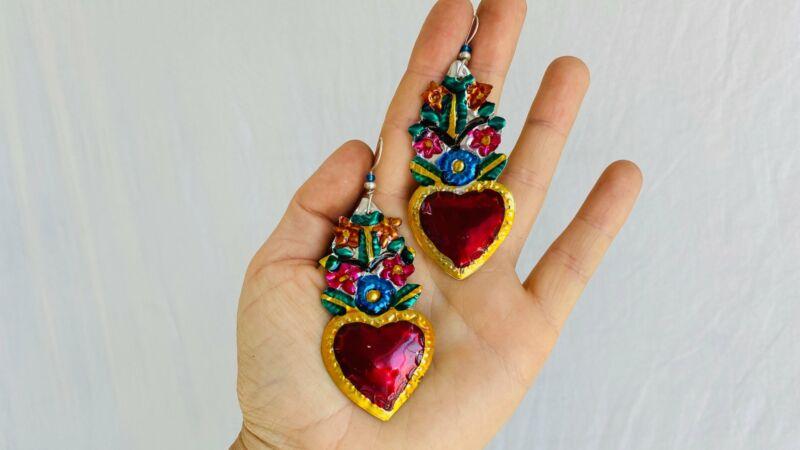Hojalata Tin Mexican Heart Earrings. Silver Earwire