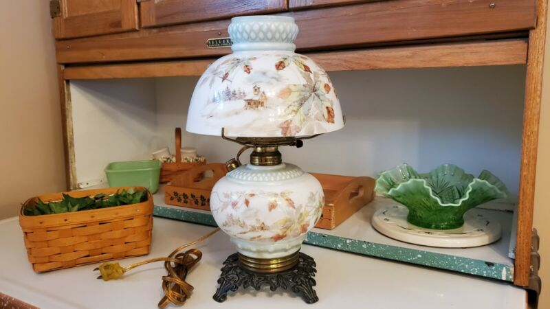 """""""ANTIQUE""""  HAND PAINTED  MT. WASHINGTON  OIL LAMP    ~ CONVERTED TO ELECTRIC ~"""