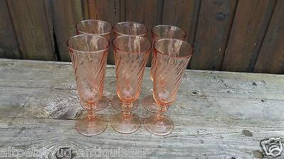 6 Alte Sektgläser, Sekt Gläser Pressglas d ' Arques France Rosaline Nr. 213