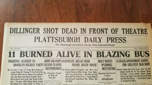 1934 Newspaper John Dillinger Killed Outlaw Gangster Bank Robber Chicago Theatre