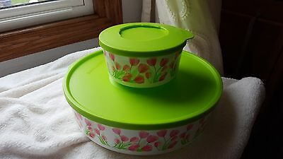 Tupperware Pink Green Tulips Flowers Snack Bowl SERVING Set - discontinued?