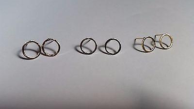 Ohrringe offener Kreis circle minimal Trend Silber, Gold, Rosé-Gold brushed matt (Offene Kreis Ohrringe)