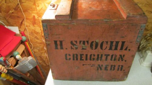Antique Wood H. Stochl Creighton Nebraska Soda Pop Case