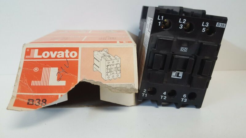 NEW OLD STOCK! LOVATO 660V 52A CONTACTOR TYPE B38 WITH 22/24V 50/60HZ COIL