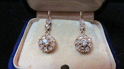 Victorian~Mine + Rose Cut Diamonds Antique Drop Cluster~18K Gold Earrings~Estate