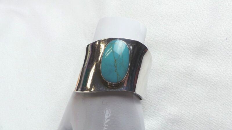 Vintage ATI Mexico Sterling Silver Turquoise Cuff Banglet ~49g TW~      Lot 1805