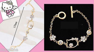 ★★★ NEU Hello Kitty Bettelarmband Mädchen Damen Strass GOLD Glitzer★★★H5