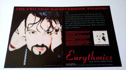 """EURYTHMICS  """" WE TOO ARE ONE """"  (1989) RARE ORIGINAL PRINT PROMO POSTER AD"""