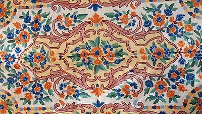Silk Rug from Kashmir Abstract Flower Blue Orange Design 3' x 5'