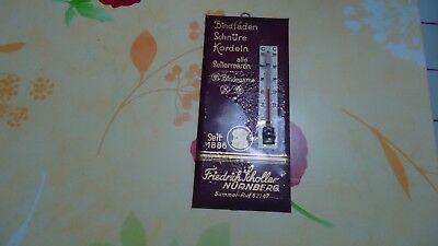 Werbeschild Thermometer Scholler Seilerwaren Pappe Zelluglas 30 er jahre