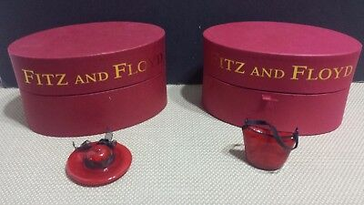 Glass Menagerie by fitz and Floyd 'Sedona Red Hat' With Red Glass Handbag. NIB