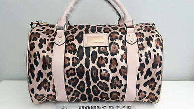 RIVER ISLAND Pink Leopard Print Duffle Weekend Travel Bag BNWT