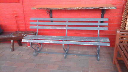 1960s wrought-iron and timber garden bench